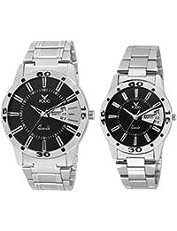 Fogg Analogue Black Dial Unisex Watch Fogg Analog 5040-BK Couple Watch Combo