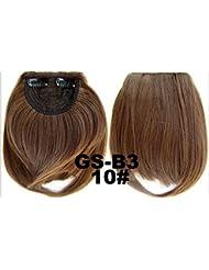 courtes droites Neat Bangs Clip en Extensions de cheveux synthétiques sur avant Faux Frange Latérale Cheveux Noir...