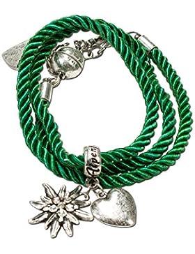 Alpenflüstern Damen Trachten-Wickelarmband Edelweiß grün DAB02600050