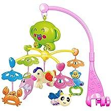 BEETEST Bebé niño música giratoria lecho móvil cuna campana colgante delfín cangrejo caballo abeja mono decoración traqueteo juguetes educativo de aprendizaje Rosa