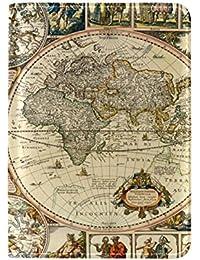 ALAZA Vintage Titular del Pasaporte Cuero del Mapa de Mundo Cubierta de la Caja del Protector