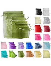 Time to Sparkle TtS 50pcs 25x35cm Organza Gift Bags Wedding Party Favour Jewellery Packing Pouches - Army Green