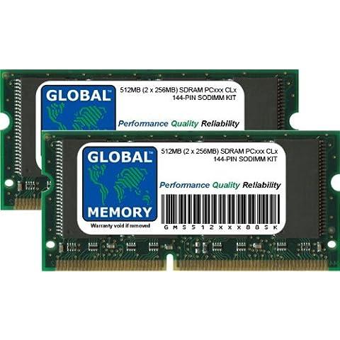 512MB (2 x 256MB) PC100/133 144-PIN SDRAM SODIMM MEMORIA RAM KIT PARA ORDENADOR