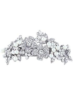 EVER FAITH® österreichischen Kristall Künstliche Perlen Blume Braut Haarspangen Haarschmuck