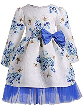 YuanDian Niña Niños Manga Larga Impresión Flores Pajarita Hilado Neto Vestidos Para Fiesta Boda Ceremonia Coctel...