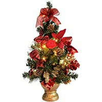 WeRChristmas Pre-Lit Decorated Christmas Tree Table Decoration, 2 feet/60 cm - Red