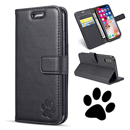 QLTYPRI iPhone XR Case, Premium PU Leather TPU Bumper Holster with Embossed Cute Bear Paw Pattern Magnetic Closure Card Holder Shockproof Wallet Case Cover for iPhone XR - Black