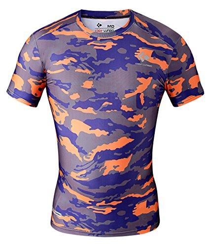 Cody Lundin® Herren Fitness Mosaik Camo Kurzarm Hemd Sport Kompression Kurzes Ärmel T-Shirt Drucken Tarnkleidung (L, Grau-Orange camo) (T-shirt Camo Kurzarm Grau)