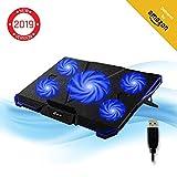 KLIMTM CYCLONE - Refroidisseur PC Portable - Refroidissement Maximal - 5 Ventilateurs - Support Ventilé pour Ordinateur - Gamer Gaming - Nouvelle Version 2019 - Bleu
