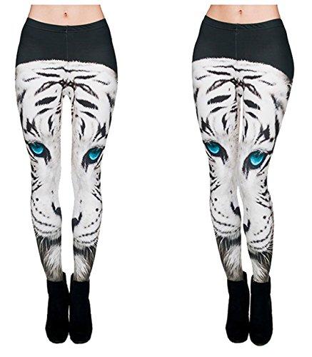 Kukubird Various Print Leggings with Dust Bag - White Tiger -