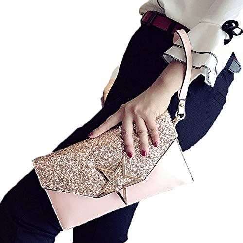 Alaix borsa da donna con frizione formale da sera con borsa a tracolla con catena a tracolla da polso rosa
