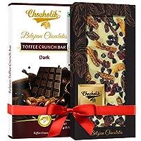 Chocholik Gift - 54% Dark Chocolate Toffee Crunch Bar and Cranberry, Fig White Chocolate Belgium Chocolate Bar (100 gm x 2 Bars)