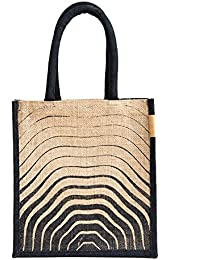 H&B Beautiful, Trendy & Stylish Jute Handbag / Beige Bag With Beautiful Wave Pattern Black Pattern / Quality Lunch...