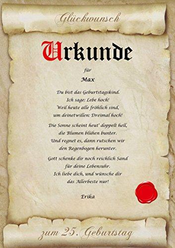 Urkunde personalisiert Geschenk Karte zum Geburtstag Jubiläum A4 Papier Motive