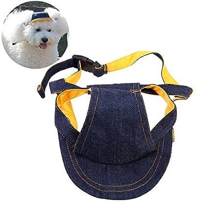 UEETEK Pet Dog Puppy Baseball Cap Visor Hat Sunhat Adjustable Chin Strap Sunbonnet 1