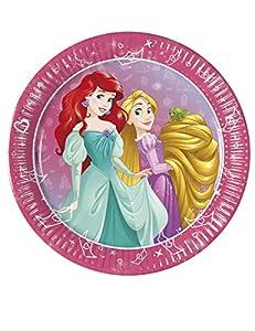 PROCOS 90960 - Platos de cartón para Fiestas (8 Unidades), diseño de Princesas Disney, Color Rosa