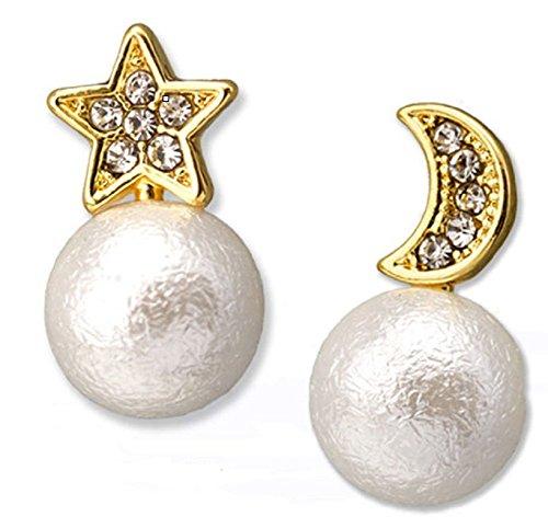 Bling Jewelry placcato oro 18K da ragazza luna e stella con perla 10mm cotone carino orecchini, 18ct base metallo placcato oro, colore: Gold, cod.