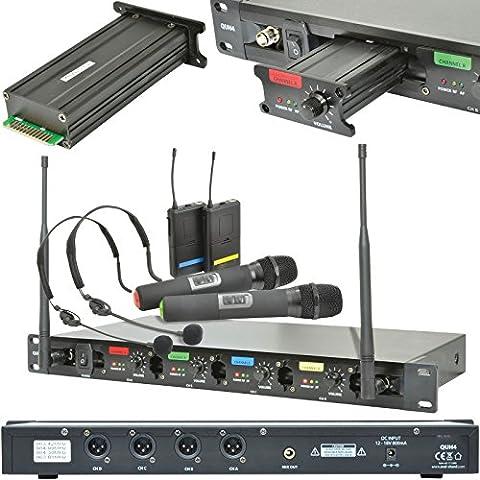 60m Quad Récepteur Microphone sans fil system-handheld headset-uhf karaoké Radio
