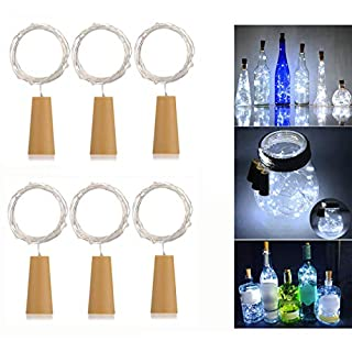AlleTechPlus 6 Pack 20-LEDs Spark Wine Bottle Light, Cork Shape Battery Copper Wire String Lights for Bottle DIY, Christmas, Wedding and Party Décor -White