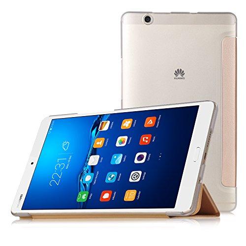 Huawei MediaPad M3 8.4 Hülle, IVSO Ultra Schlank Superleicht Ständer Slim Leder zubehör Schutzhülle für Huawei MediaPad M3 8.4 Tablet-PC perfekt geeignet (Slim-Golden)