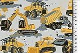 Die Stofftante Baumwolljersey Baustellenfahrzeuge, hellgrau