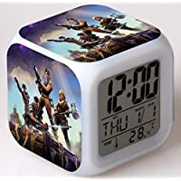LED Fortnite Alarm Clock with USB Line Vita Digital 7 Color Clock with Snooze Function LCD Screen Display Time Date Temperature Best Gift for Christmas Birthday Fortnite Lover