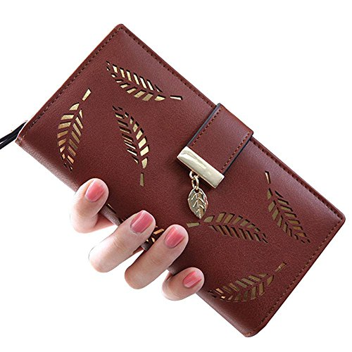 Damen Lang Leaf Faltportemonnaie Leder hohl Kartenhalter Portemonnaie Clutch Handtasche mehrere Taschen Leder wallet-aolvo coffee (Handtasche Wallet Lange Clutch)