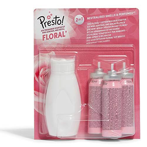 Amazon-Marke: Presto! Floral Lufterfrischer Starter Kit - Mini Aerosol und Nachfüllpack (1 Aerosol & 3 Nachfüllpackungen) - 3er-Pack -