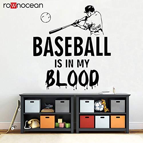 woyaofal Baseball Wandtattoo Zitate Baseball Ist In Meinem Blut Vinyl Aufkleber Kinderzimmer Dekoration Geschenke Für Jungen 57x62 cm