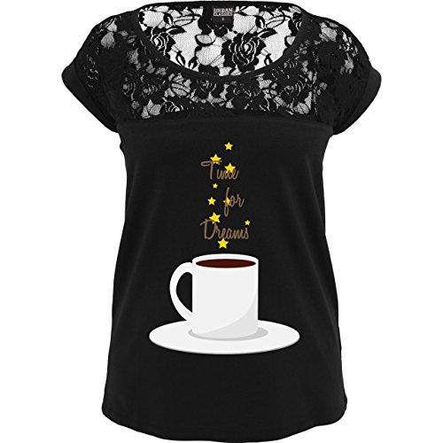 Statement Shirts - Kaffee-Tee-Spruch - Sexy Damen T-Shirt mit Spitze im Schulterbereich Schwarz