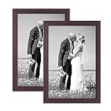 PHOTOLINI 2er Set Bilderrahmen 20x30 cm Nuss Modern Massivholz-Rahmen mit Glasscheibe und Zubehör/Fotorahmen