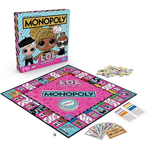 Hasbro Monopoly E7572100 Monopoly Spiel: L.O.L. Surprise Brettspiel für Kinder ab 8 - Kinder Monopoly