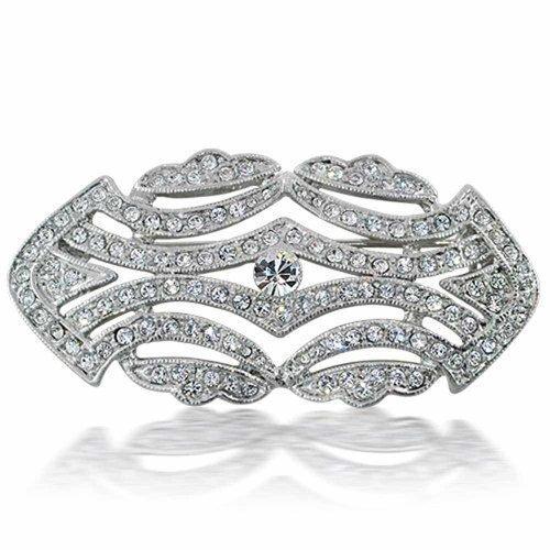 Bling Jewelry Große Crystal Mode Art Deco Vintage-Stil Gatsby Schal Brosche Pin Für Damen Messing Inspiriert