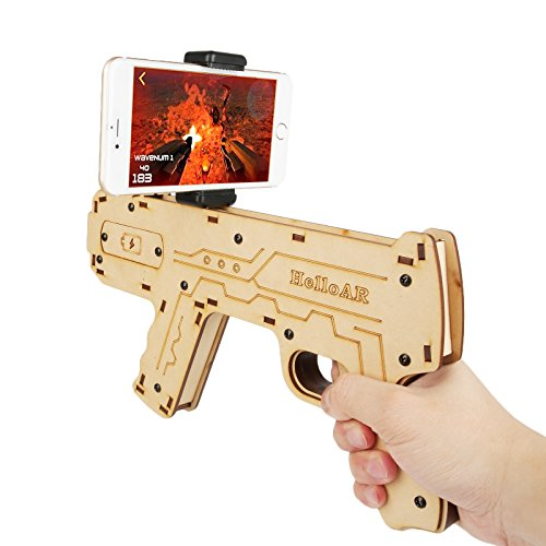 LeaningTech AR Augmented Reality Game Gun Controller, Eco-friendly Safe DIY Bluetooth AR Toy Gun with Smart Phone Stand Holder for iOS Android Smartphone