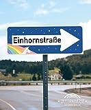 Einhhorn Schild - Einhornstraße Blau (40 x 15cm), Süße Wand-Deko, Türschild für Mädels-Wohnung, Mädchen-Zimmer, Geschenkidee Einweihungsparty - Geburtstags-Geschenk, Lustige Überraschung - beste Freundin -