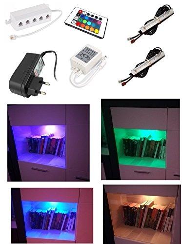 Encastrable, luminaires Armoire vitrine, cuisine Lampes, éclairage, LED RGB, éclairage sous cabinet, Multi Couleur modifiable, éclairage Montage en saillie pour armoire, étagère à livres Décoration stimmungs lumière avec télécommande, Métal, RVB, set of 2 spots, LED diodes 3.00watts 12.00volts