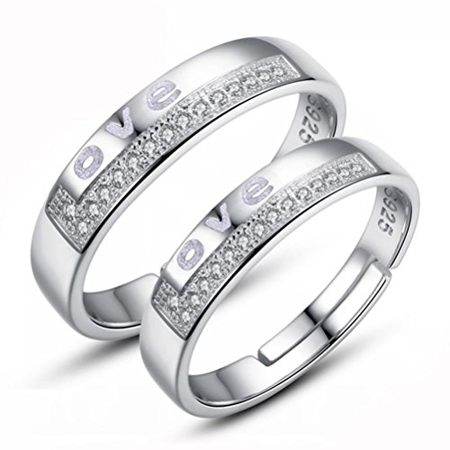 ZPL Meteor Shower 925 Sterling Silver coppie / amanti anelli regolabili per banda di nozze / anniversario / impegno / Promise Ring (misura regolabile)