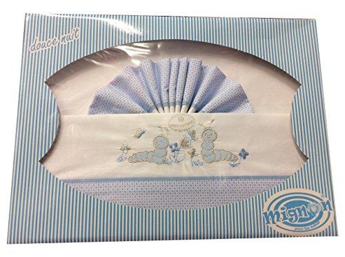 Bettwäsche Vanity (Bettwäsche Kinderbett,/Baby, Koffer Bettwäsche Baby-Chenille blau-Geschenk Geburt-Jolis Dessins und Farben-Vanity -)