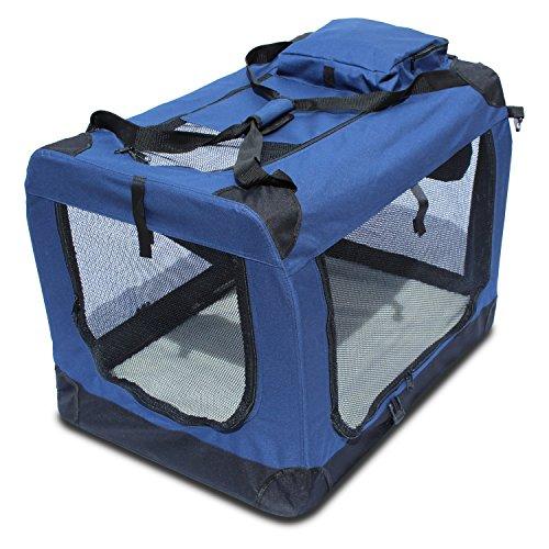 Transportin para perros plegable (81,3 x 58,4 x 58,4cm) Yatek de entradas laterales y superiores con alta visibilidad, confort y seguridad para tu mascota