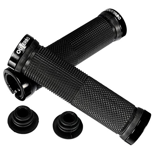 outerdo-bicycle-handlebar-grips-double-lock-on-locking-aluminum-grips-black