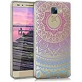 kwmobile Funda para Honor 7 / Honor 7 Premium Huawei - Case de cristal para móvil en TPU silicona - Cover trasero de cristal Diseño sol indio azul rosa fucsia transparente