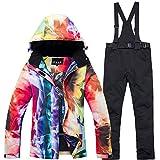 DULEE Damen Winter Wasserdichte Thermische Snowboard Anzug Ski Jacke Schneeanzug Ski Jumpsuit,Schwarz L