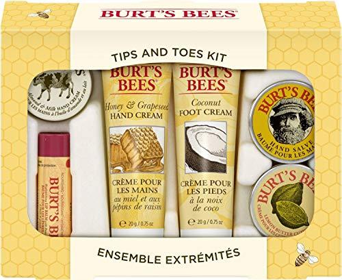 Burt's Bees Urlaubsgeschenkset, mit 6 Produkten in Reisegröße - 2 Handcremes, Fußcreme, Nagelhautcreme, Handsalbe und Lippenbalsam