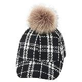 uBabamama_Hat Fashion Cap für 2–9 Jahre, Unisex Baby, Leoparden-Print, Big Hair Ball Plüsch Warm Baseball Cap Hat, D, Einheitsgröße