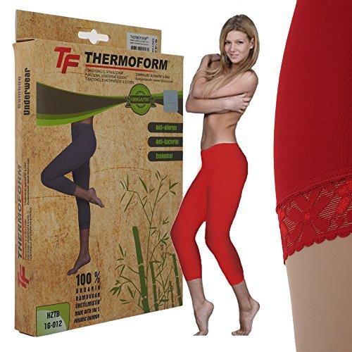 THERMOFORM © thermique femme-ourlets legging court-idéal pour les loisirs et le sport, à l'air libre par temps froids Rouge - Rouge
