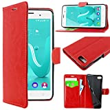 ebestStar - Coque Wiko Lenny 3 Jerry Etui PU Cuir Housse Portefeuille Porte-Cartes Support Stand, Rouge [Appareil: 145 x 73.1 x 9.9mm, 5.0'']
