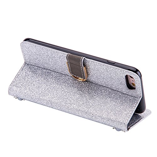Lusso Wallet Case per iPhone 6Plus, MAOOY iPhone 6sPlus Moda Sparkle Shiny Cristallo Rhinestone Cassa, iPhone 6Plus/6sPlus Libro Portafoglio Custodia con Magnatic Closure & Carta di Credito & Basament Argento 1