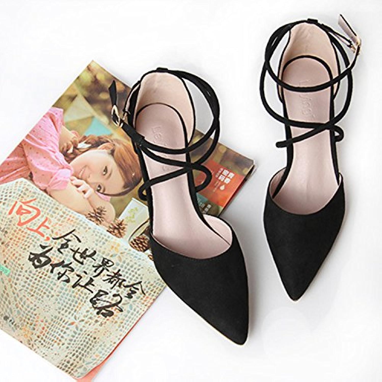 Superficial Con Un Par De Zapatos De Tacon Fino Sandalias De Tacón Alto Baotou,Black,Eu39Cn40