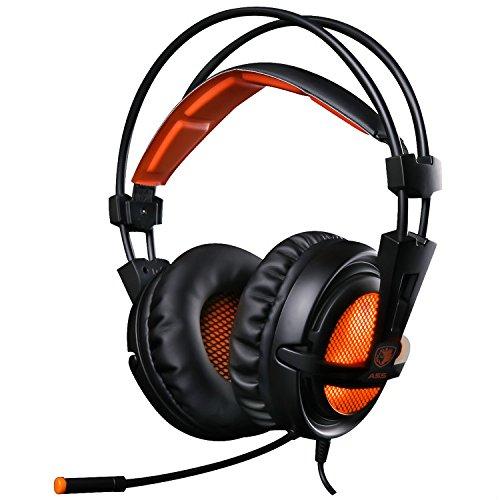 Stereo Gaming Headset für PC Gamer 3,5mm Jack LED-Anzeige leicht und komfortabel verstellbarem Mikrofon und Inline-Controller one-Key Dämpfer ()