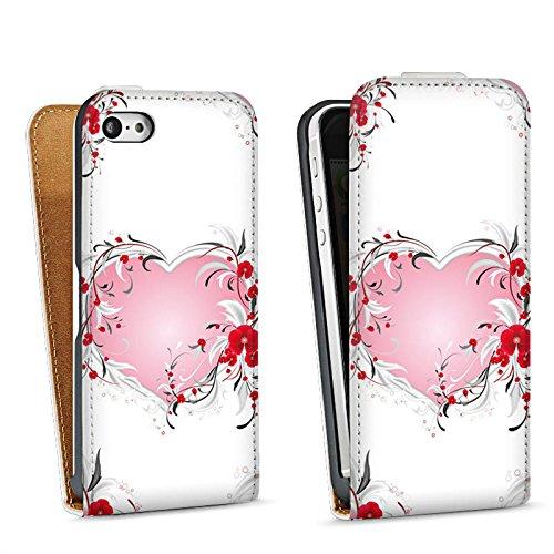 Apple iPhone 5 Housse Étui Silicone Coque Protection Amour Amour C½ur Heart Sac Downflip blanc